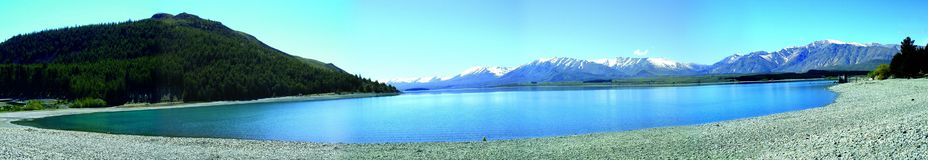 Lake Tekapo. Panorama picture of lake Tekapo Royalty Free Stock Images
