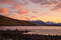 Lake Tekapo on a beautiful morning. Idyllic morning at Lake Tekapo in South Island, New Zealand Stock Photo