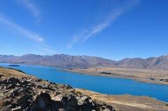 Lake Tekapo. Beautiful Nature surrounding Lake Tekapo, New Zealand stock photo