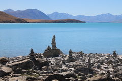 Lake Tekapo Cairns at the church Stock Photo