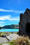 Lake Tekapo and The Church of Good Shepard. Stock Photography