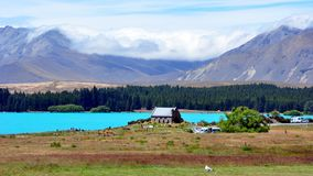 Lake Tekapo and The Church of Good Shepard. Royalty Free Stock Photo