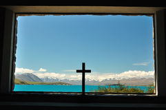 Lake Tekapo, New Zealand. View from the Church of the Good Shepherd, Lake Tekapo, New Zealand stock photography