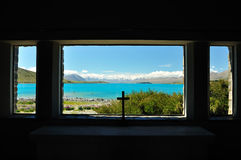 Lake Tekapo, New Zealand. View from the Church of the Good Shepherd, Lake Tekapo, New Zealand Stock Images