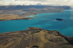 Lake Tekapo, New Zealand Landscape. From aerial view Stock Images