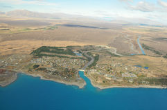 Lake Tekapo, New Zealand Landscape. From aerial view Stock Photos