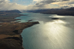 Lake Tekapo, New Zealand Landscape. From aerial view Royalty Free Stock Images
