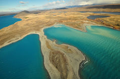 Lake Tekapo, New Zealand Landscape. From aerial view Stock Photo