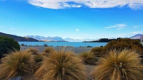 Lake tekapo in new zealand. Turquoise Lake tekapo in new zealand mountain view royalty free stock photos