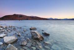 Lake Tekapo Sunrise. View of Lake Tekapo in New Zealand at sunrise Stock Images