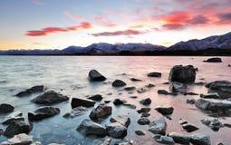 Lake Tekapo Sunrise. View of sunrise at Lake Tekapo in New Zealand Royalty Free Stock Images