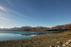 Lake Tekapo in winter. Lake Tekapo on a cold winter evening Royalty Free Stock Photography