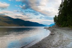 Lake Teletskoe view from the shore royalty free stock image