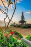 Lake Temple Bali Blue Dawn Sky - Pura Ulun Danu Bratan Stock Photo