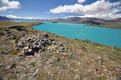 Lake Tepako cairn Stock Photos