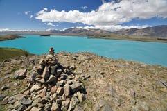 Lake Tepako cairn Royalty Free Stock Photos