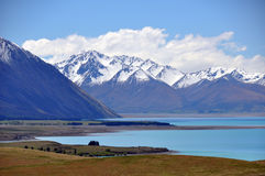 Lake Tepako panorama. This view is on the walk from Mount John to Lake Tepako in New Zealand (south island alps Royalty Free Stock Images