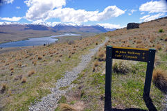 Lake Tepako walk sign Stock Image