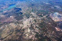 Lake texcoco near mexico city aerial view cityscape panorama. Lake texcoco farmed fields and mountains near mexico city aerial view landscape from airplane leon Royalty Free Stock Photos
