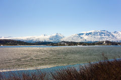 A lake thawing in the springtime Royalty Free Stock Photo