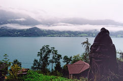 Lake Thun (Beatenberg, Switzerland) seen from Saint Beatus Caves royalty free stock photo