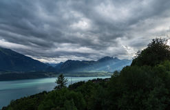 Lake Thun 6. Beautiful view on lake Thun with fantastic sun rays and reflection on water. Part of Swiss alps and green forest. City of Sigriswil, canton Bern Royalty Free Stock Photography