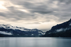 Lake Thun. A cloudy Lake Thun in Interlaken, Switzerland after a rain storm Stock Photo