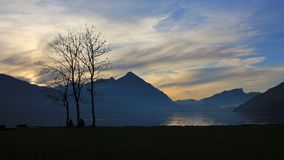 Lake Thun and Mt Niesen at sunset Royalty Free Stock Photo