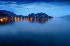 Lake Thun at night. Royalty Free Stock Photography