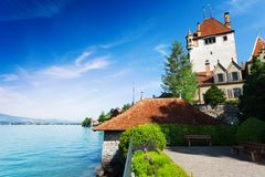 Lake Thun and Oberhofen castle Stock Photo
