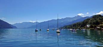 Lake Thun. Panorama of lake Thun in the Bernese Alps, switzerland Royalty Free Stock Image