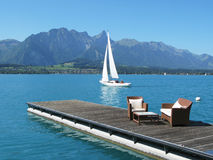 Lake Thun, Switzerland. Romantic view to the lake Thun, Switzerland Royalty Free Stock Image