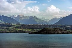 Lake Thun in Switzerland. Scenic Lake Thun in Switzerland Jungfrau Region. Lake and Mountains Scenery Royalty Free Stock Image