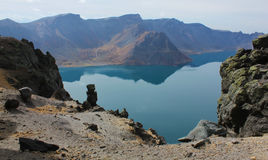 The lake  Tianchi in the crater of the volcano. Royalty Free Stock Image