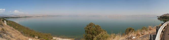 Lake Tiberias, Israel, Middle East, Sea of Galilee, biblical place, Holy Land, pilgrimage, catholicism, religion. Panoramic view of Lake Tiberias on September 2 Royalty Free Stock Photos