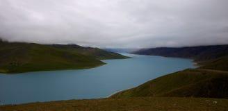 Lake in Tibet. Clear Blue water in Tibetan lake Stock Photography