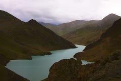 Lake in Tibet. Clear Blue water in Tibetan lake Royalty Free Stock Photo