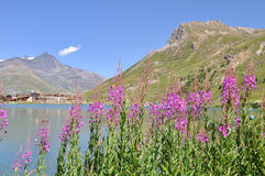 Lake of Tignes- Alpes Stock Image