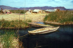 Lake Titicaca. With floating island and boats made from totora reeds Royalty Free Stock Image