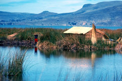 Lake Titicaca. With floating island and boats made from totora reeds Royalty Free Stock Images