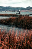 Lake Titicaca. With floating island and boats made from totora reeds Stock Photography