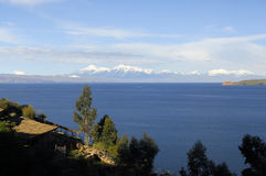 Lake Titicaca as seen from Isla del Sol. Lake Titicaca and part of Isla de la Luna with snow capped mountains in the background as seen from Isla del Sol Royalty Free Stock Photography