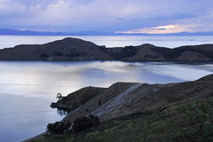 Lake Titicaca as seen from Isla del Sol. Lake Titicaca and part of Isla del Sol mountains in the background as seen from Isla del Sol Royalty Free Stock Photography