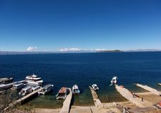 Lake Titicaca bay in isla de sol in bolivia mountains Royalty Free Stock Image