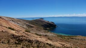 Lake Titicaca bay in isla de sol in bolivia mountains stock photography