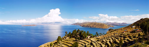 Lake Titicaca, Bolivia Peru. Lake Titicaca and it's floating islands on the border of Bolivia and Peru Royalty Free Stock Image