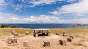 Lake titicaca at the border of bolivia and peru Royalty Free Stock Photo