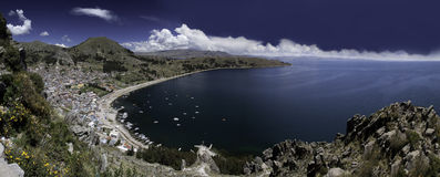 Lake titicaca copacabana bay blue sky and water Stock Image