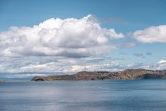 Lake Titicaca by day. Bright sunny landscape at lake Titicaca in Bolivia royalty free stock photo