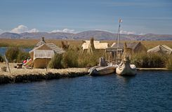 Lake Titicaca, Peru. The floating village of Uros on Lake Titicaca in Peru Stock Photography